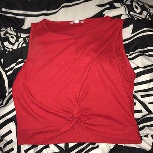 Tops - CROP KNOT RED SHIRT